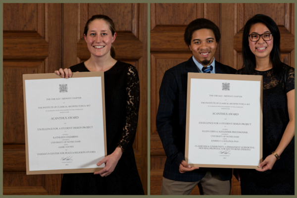 Architecture Students Honored by the Institute of Classical Architecture and Art