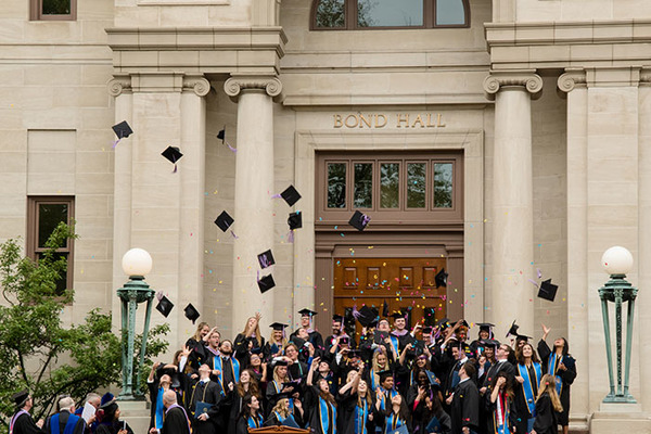 Class of 2018 Celebrates on the Steps of Bond Hall