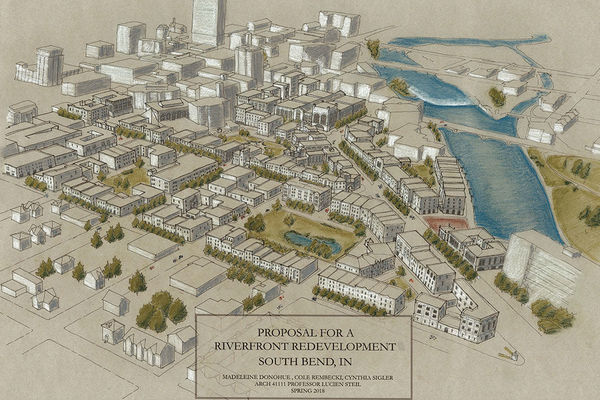 Student architecture exhibit reimagines South Bend's west bank